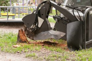 grinding a yard stump in Bessemer City, NC
